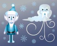 Helada de gato e invierno del viejo hombre stock de ilustración
