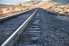 Pistas de ferrocarril de Frost de la mañana Fotografía de archivo