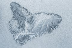 Helada inusual en una ventana del invierno Fotografía de archivo libre de regalías