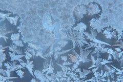 Helada inusual en una ventana del invierno Imagen de archivo