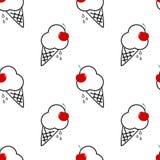Helado blanco y negro con el ejemplo inconsútil del fondo del modelo de la cereza roja Imagen de archivo libre de regalías