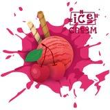 Helado Cherry Ball Fruit Dessert Choose su cartel del café del gusto Imagenes de archivo