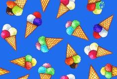 Helado colorido en cuernos marrones claros de la oblea libre illustration