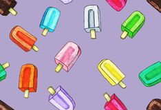 Helado colorido en el palillo en fondo violado claro libre illustration
