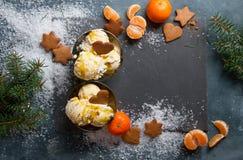 Helado con el pan de jengibre y la mandarina Foto de archivo libre de regalías