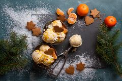 Helado con el pan de jengibre y la mandarina Fotografía de archivo