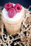 Helado con la frambuesa en cono de la galleta en la madera Fotografía de archivo libre de regalías