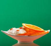 Helado con la naranja Fotografía de archivo