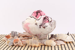 Helado con las conchas marinas Fotografía de archivo libre de regalías