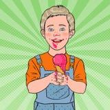 Helado de Art Happy Little Boy Eating del estallido Niño con el postre frío Comida dulce stock de ilustración