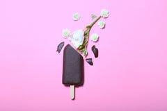 Helado de chocolate con las flores en fondo rosado Fotos de archivo