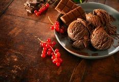 Helado de chocolate con las pasas rojas en plato Imágenes de archivo libres de regalías