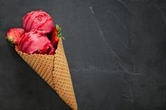 Helado de fresa Foto de archivo