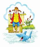 Helado de la caricatura de la historieta del tiburón de la ilusión Foto de archivo