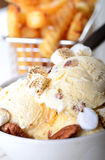 Helado de la pacana de la mantequilla con las patatas fritas Fotos de archivo libres de regalías