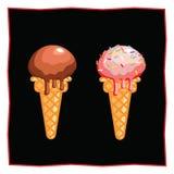 Helado del chocolate y de fresa Postre en un fondo negro para el menú del restaurante y del café Icono de la comida en un blanco Imagen de archivo