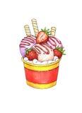 Helado del helado con el gusto de la fresa en taza en el fondo blanco Bosquejo del trabajo hecho a mano Ejemplo del helado del ve Foto de archivo libre de regalías