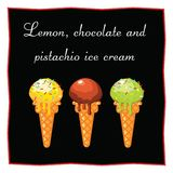 Helado del limón, del chocolate y del pistacho Postre en un fondo negro para el menú del restaurante y del café Icono de la comid Fotografía de archivo