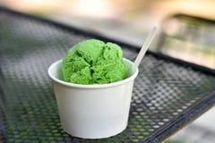 Helado del té verde Imagenes de archivo