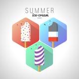 Helado del verano del icono con el texto Fotos de archivo