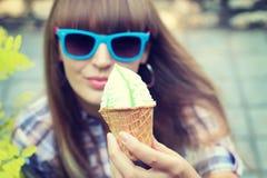 helado delicioso del pistacho Fotografía de archivo