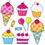 Helado dulce de los iconos de la comida, magdalena, caramelo, torta Fotografía de archivo libre de regalías