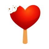 Helado en forma de corazón rojo con la marca de la mordedura libre illustration