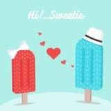 Helado que cae en amor el día de tarjeta del día de San Valentín Fotos de archivo