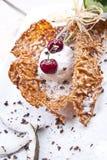 Helado y cereza de coco Imagen de archivo libre de regalías
