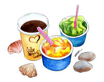 Helado y coffe, sorbetes en la playa stock de ilustración