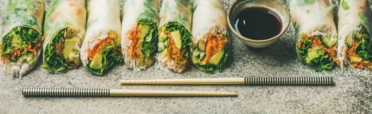 Vegan spring rice paper rolls over concrete background. Helathy Asian cuisine. Vegan spring rice paper rolls with vegetables, soy sauce, chopsticks over concrete Stock Image