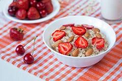 Helathy breakfast oatmeal porridge with strawberry Royalty Free Stock Image