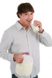 Helathy Looking Young Man Driking Milk Isolated Royalty Free Stock Photos
