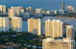 Helciopter view of Miami Beach at sunset Stock Images