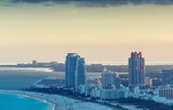 Helciopter view of Miami Beach at sunset Stock Photography