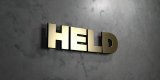 Held - Gold sign mounted on glossy marble wall  - 3D rendered royalty free stock illustration Royalty Free Stock Photography
