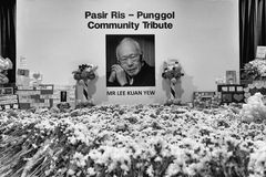 Held at one of the many community centres for public to pay last respect to late beloved Mr.Lee Kuan Yew Stock Photography