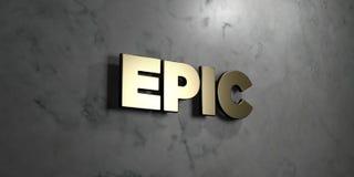 Heldendicht - Gouden teken opgezet op glanzende marmeren muur - 3D teruggegeven royalty vrije voorraadillustratie stock illustratie