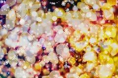 Helder abstract cirkelbokehonduidelijk beeld als achtergrond op een donkere achtergrond Stock Foto