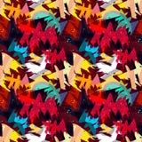 Helder abstract geometrisch naadloos patroon in graffitistijl kwaliteits vectorillustratie voor uw ontwerp Royalty-vrije Stock Fotografie