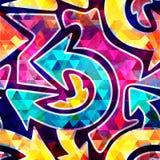 Helder abstract geometrisch naadloos patroon in graffitistijl kwaliteits vectorillustratie voor uw ontwerp Royalty-vrije Stock Foto