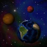 Helder abstract hemellandschap met planeten, collage stock illustratie