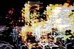 Helder abstract patroon in een kleuren verschillende lijnen en vlekken op een zwarte Royalty-vrije Stock Foto's