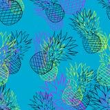 Helder ananaspatroon stock illustratie
