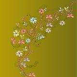 Helder beeld met bloemen en patronen Stock Afbeeldingen