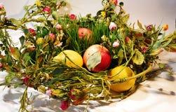 Helder beeld van greens, citroen, tomaten, komkommers, salade stock afbeelding