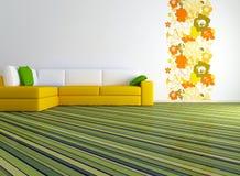 Helder binnenlands ontwerp van moderne woonkamer royalty-vrije illustratie