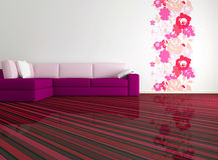 Helder binnenlands ontwerp van moderne woonkamer Royalty-vrije Stock Afbeelding