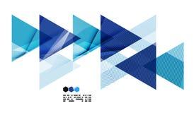 Helder blauw geometrisch modern ontwerpmalplaatje Stock Foto