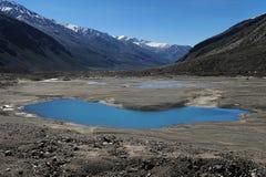 Helder blauw klein meer in het midden van hoge bergvallei van Zanskar, Noordelijk India Royalty-vrije Stock Foto's